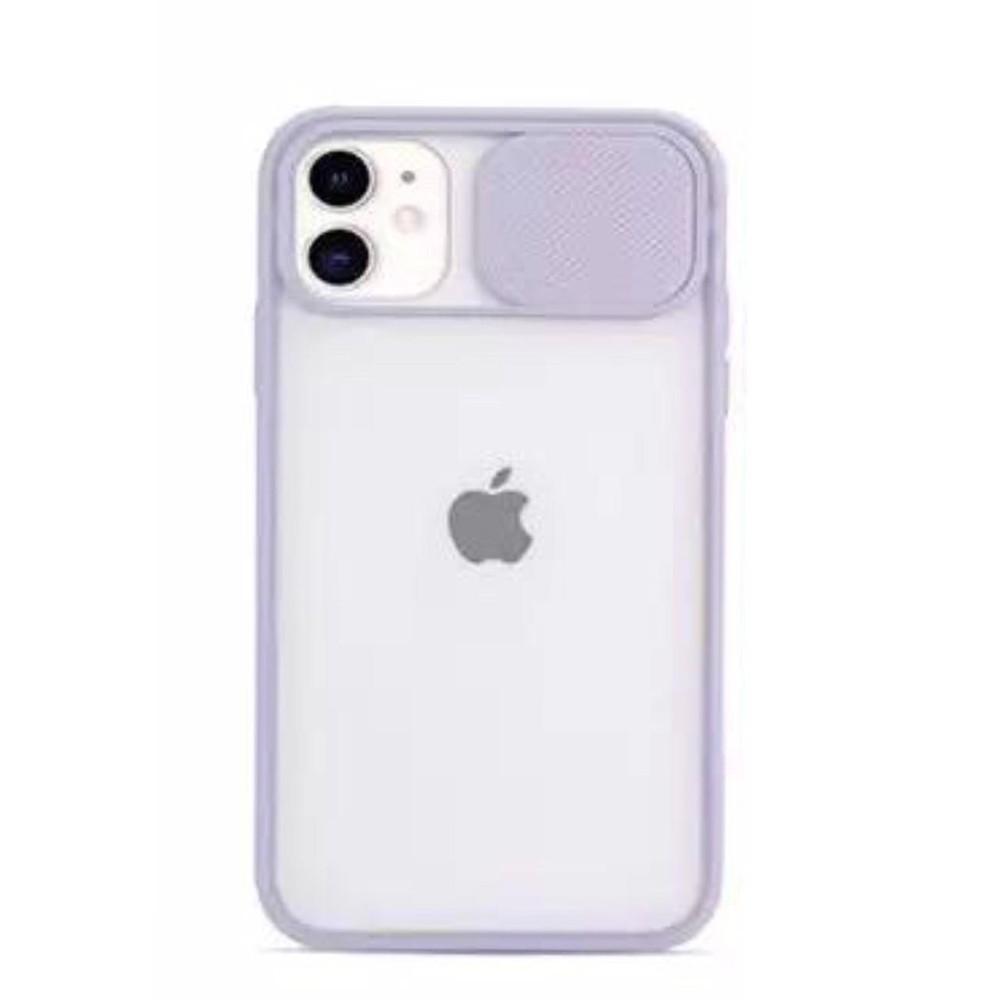 Carcasa morada c/ protector lente Iphone 12- Silicona transparente