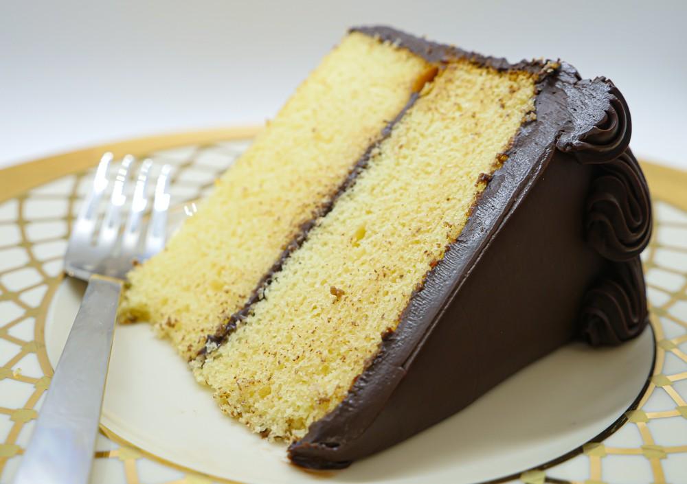 Yellow layer w/chocolate slice Slice