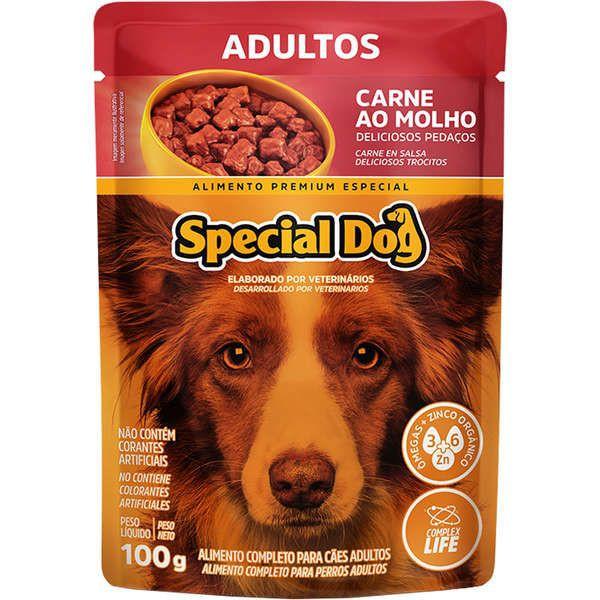 Sachê special dog para cães adultos sabor carne 100g