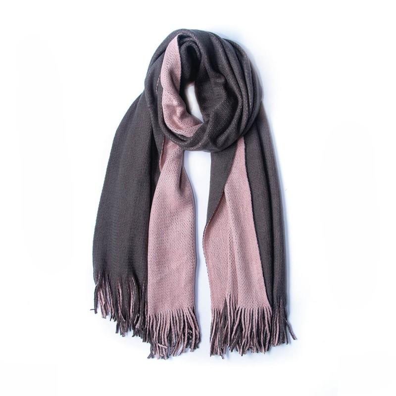 Manta duo gris rosado 60 cm de ancho x 230 cm de largo.
