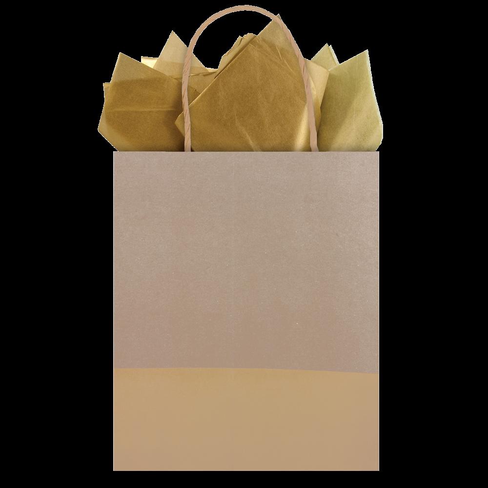 Bolsa regalo mediana kraft café con dorado