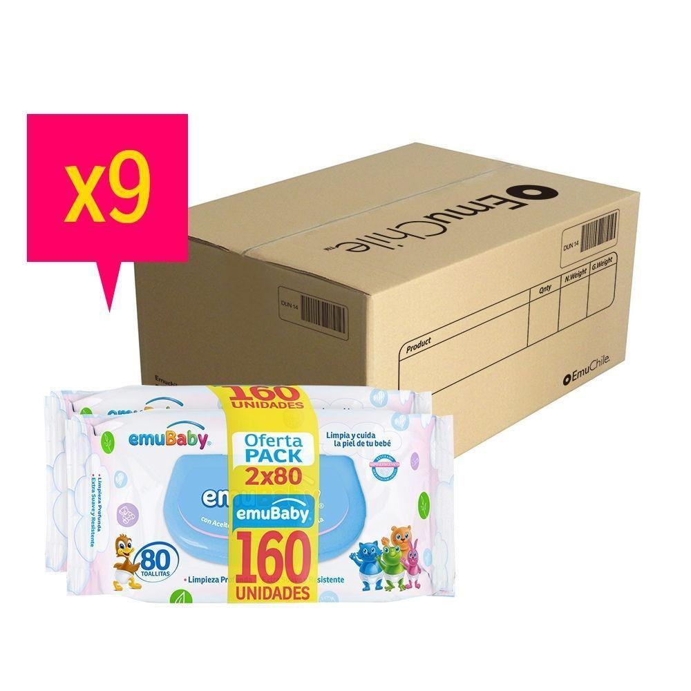 Caja 1440 toallas húmedas premium emubaby