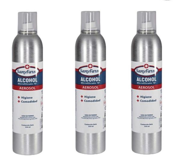 Alcohol microfiltrado 70º aerosol Pack de 3 Envases de 350 ml