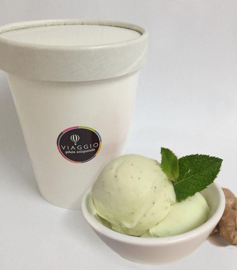 Helado de limón menta jengibre agua/vegano Pote 32 oc