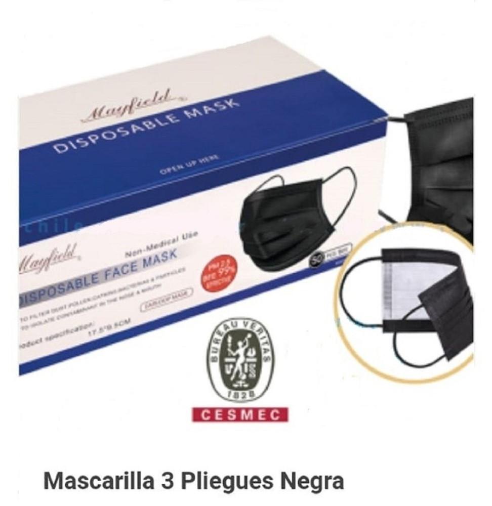 Mascarilla negra -Certificación Cesmec N° SCD-19404  - efectividad 99% 50Un-negra
