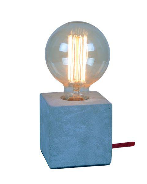 Lámpara de Mesa 1 Luz Cuadrada Globe Concret E27