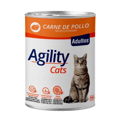 Lata de alimento húmedo para gatos adultos sabor carne de pollo