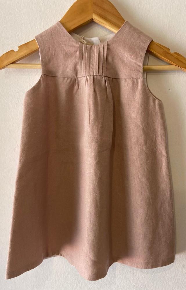 Vestido reversible rosado con crudo 12-24m