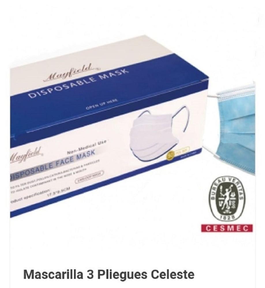 Mascarilla quirúrgica celeste - Certificación: Cesmec N° SCD-19404 50Un- celeste