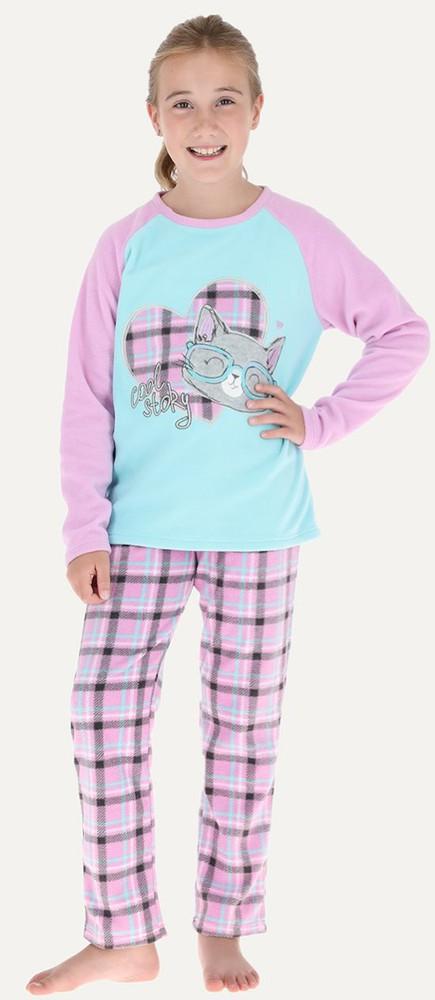 Pijama de 2 piezas micropolar m/larga - pantalon recto 32664 6 lila