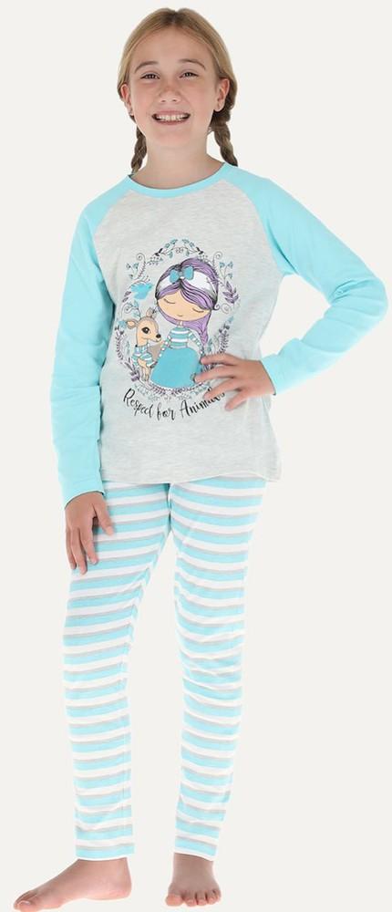 Pijama 2p m/l raglan - pantalon pitillo 32666 12 celeste