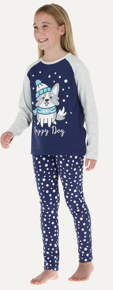 Pijama 2p m/l raglan - pantalon pitillo 32667 16 azul