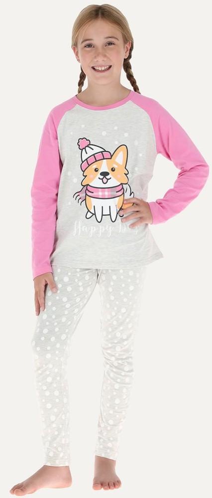 Pijama 2p m/l raglan - pantalon pitillo 32667 10 gr.melange