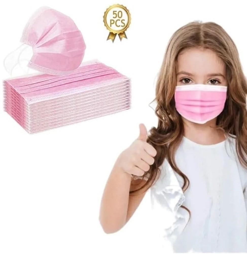 Mascarillas desechables niña - Rosadas 50 unidades