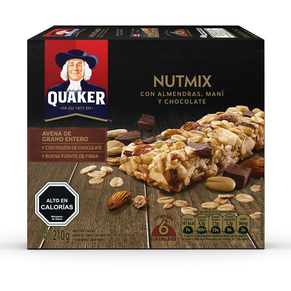 Barra avena Nutmix con almendras, maní y chocolate