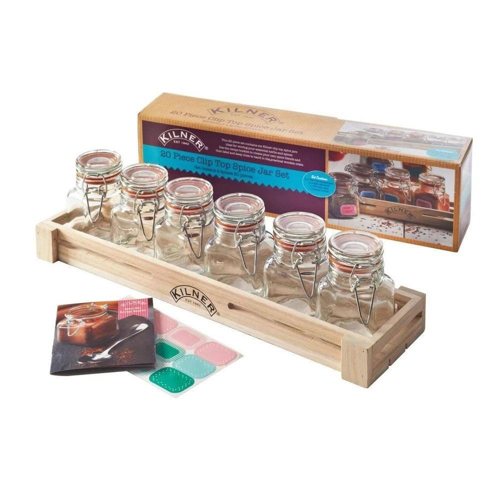 Set 6 frascos especias 70ml + caja de madera