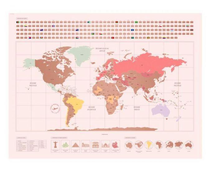 Mapa raspadinha mundo rose gold