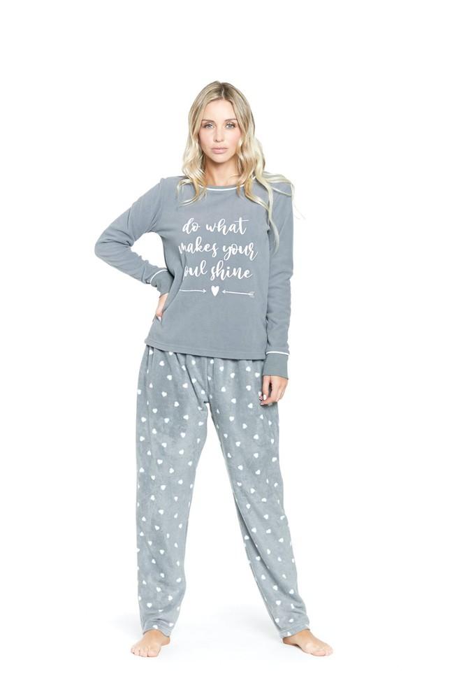 Pijama cuello polar gris l L