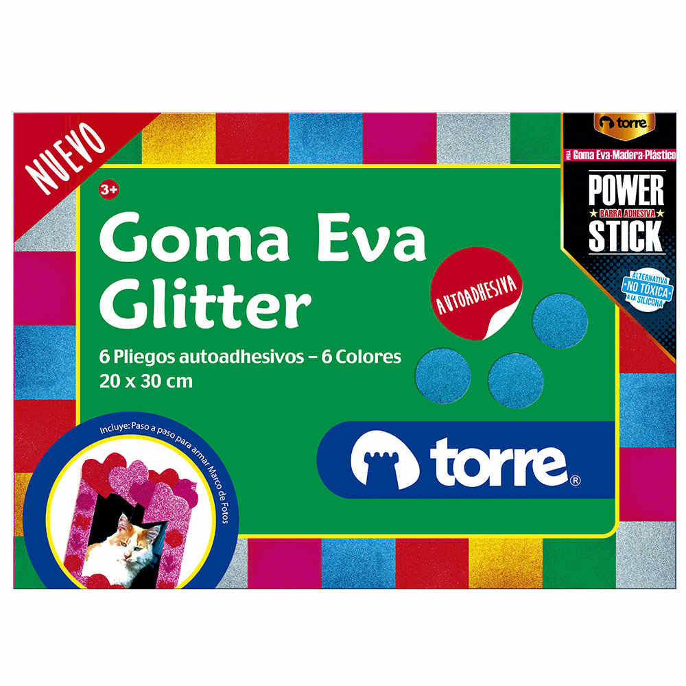 Bolsón goma eva glitter con sticker