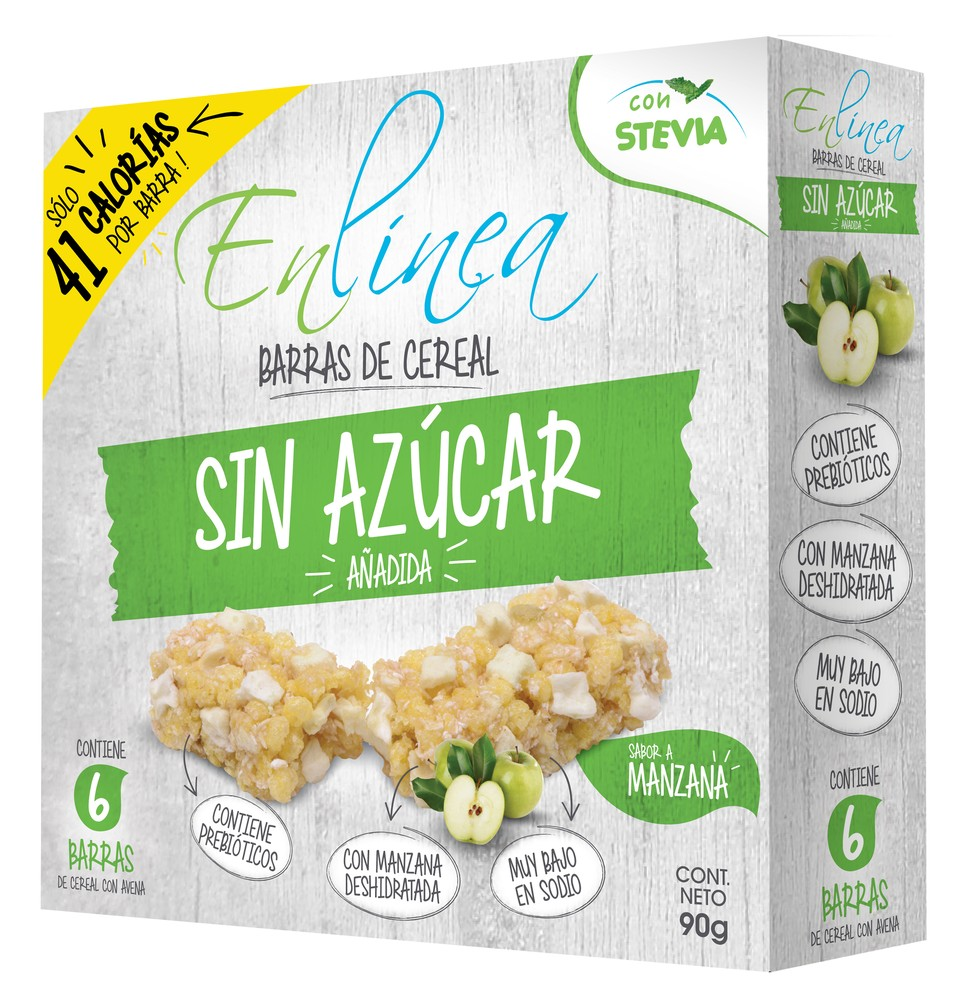Barra cereal sin azúcar sabor manzana