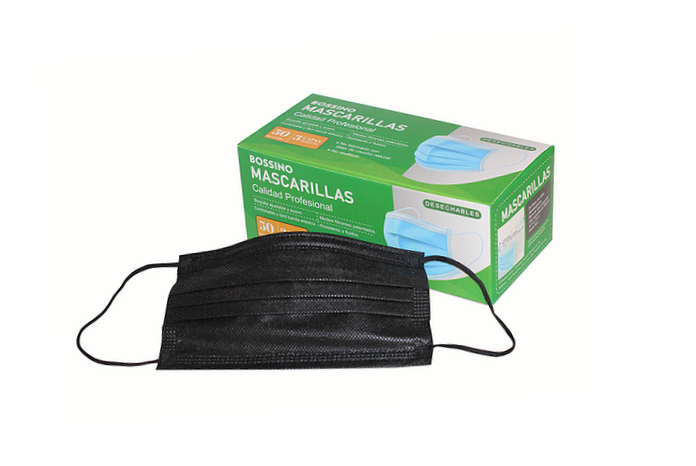 Mascarillas Desechables 3 Capas Certificadas-Color Negro + Regalo 30 ml Alcohol Gel al 70%.