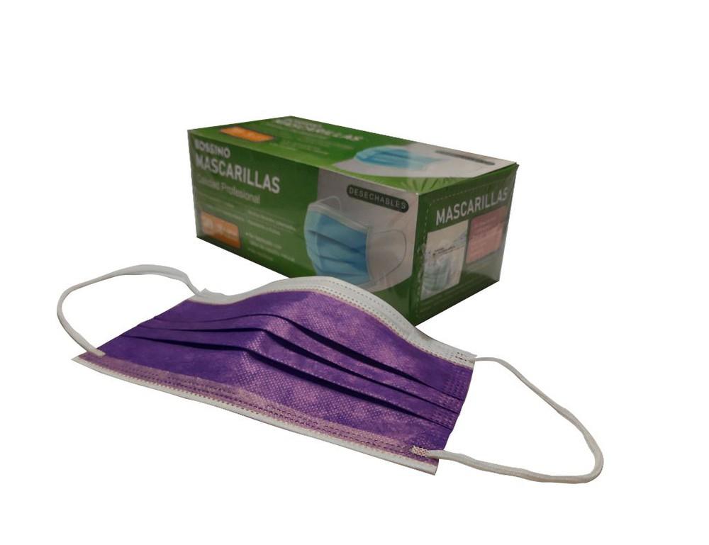 Mascarillas Desechables 3 Capas, Certificadas-Color Lila +Regalo 30 ml Alcohol Etílico al 70%