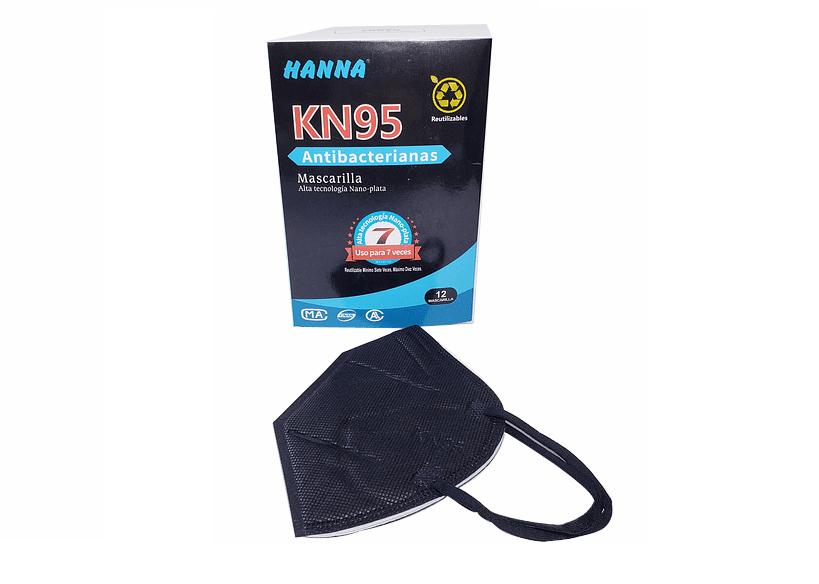 Mascarilla Antibacteriana KN95 con Nano Plata Color Negra + Regalo 30 ml Limpia Vidrio.