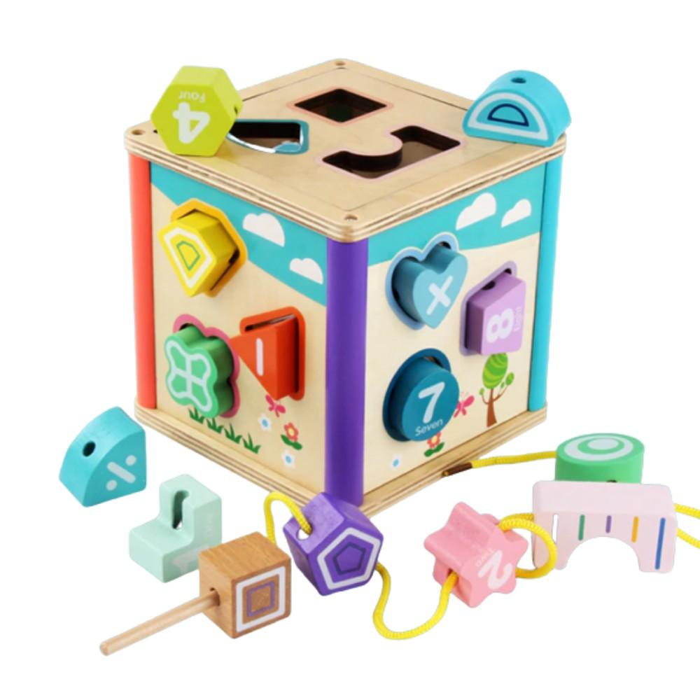 Cubo mis primeras actividades Dimensiones: Cubo de madera de 16 cm de ancho x 15 cm de alto