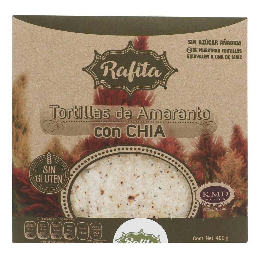 Tortillas de amaranto Rafita con chía, sin gluten 400 g