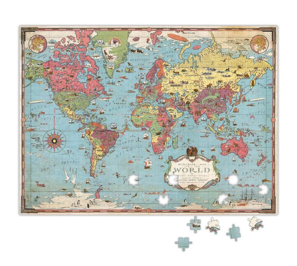 Puzzle mapa del mundo - 500 piezas Caja 500 gr