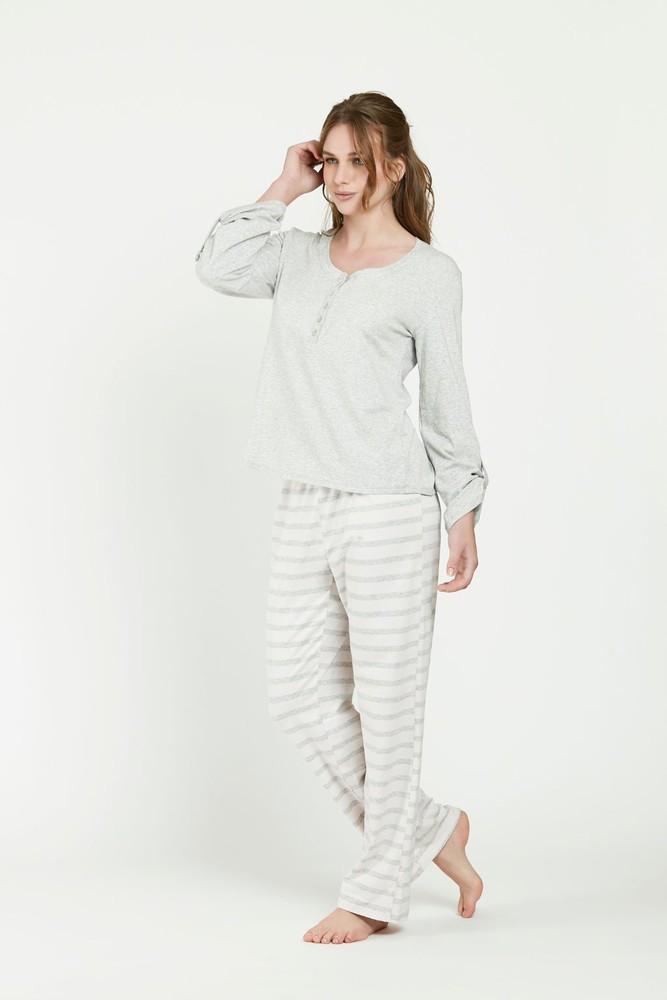 Pijama rayas ml gris  s S