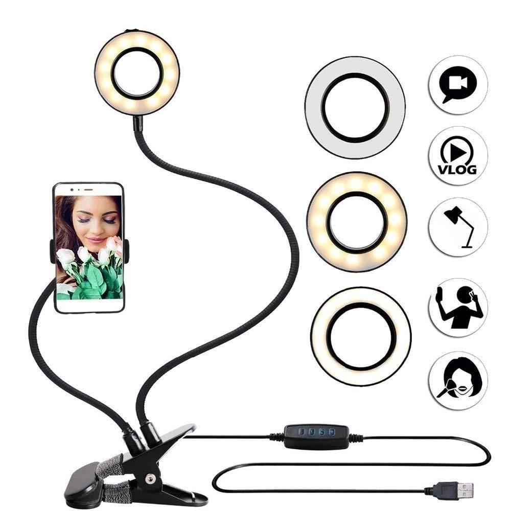 Anillo aro de luz con soporte para escritorio mesa 3 tipos de luces