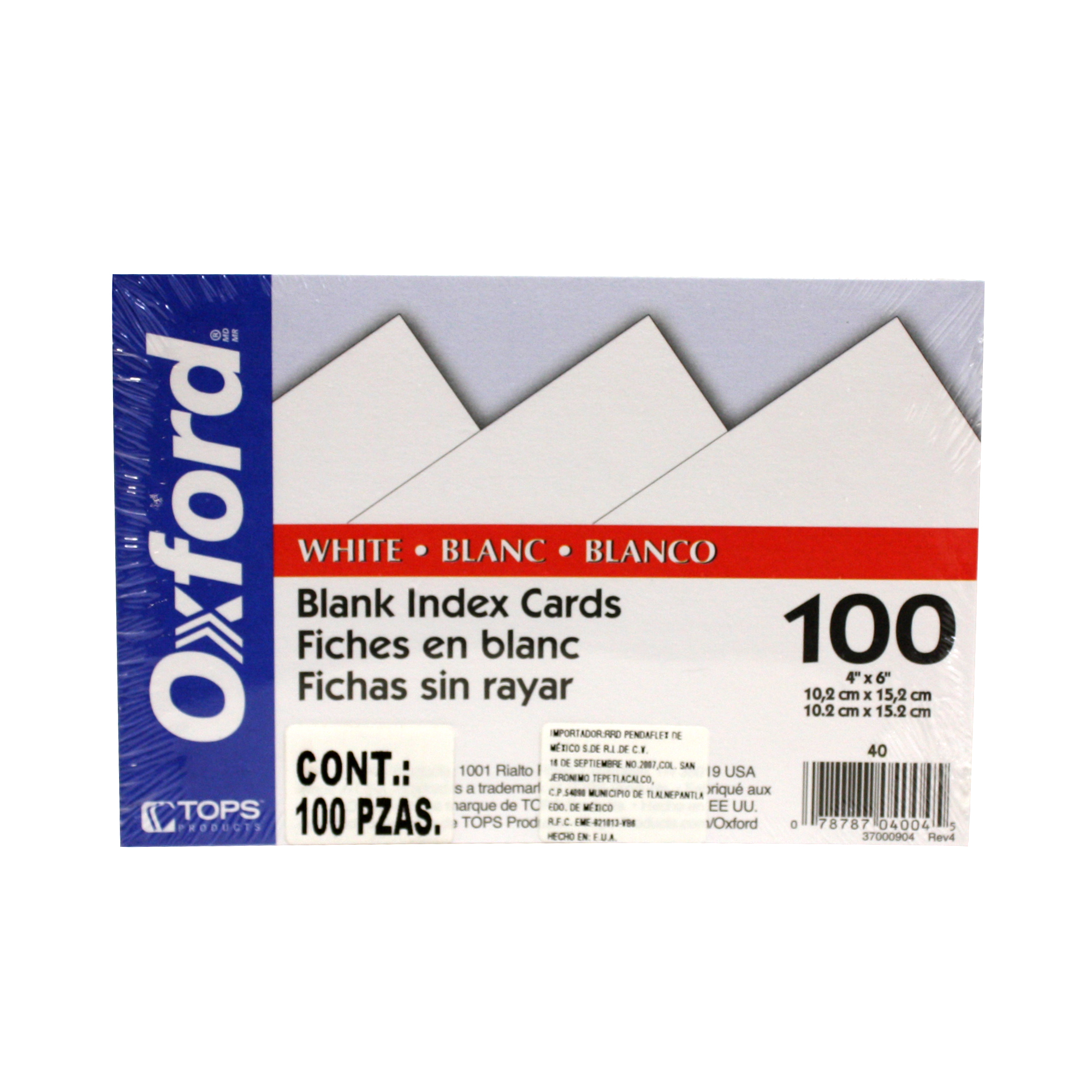 "Tarjeta Indice Oxford Blanca 4x6"" 100 Piezas"