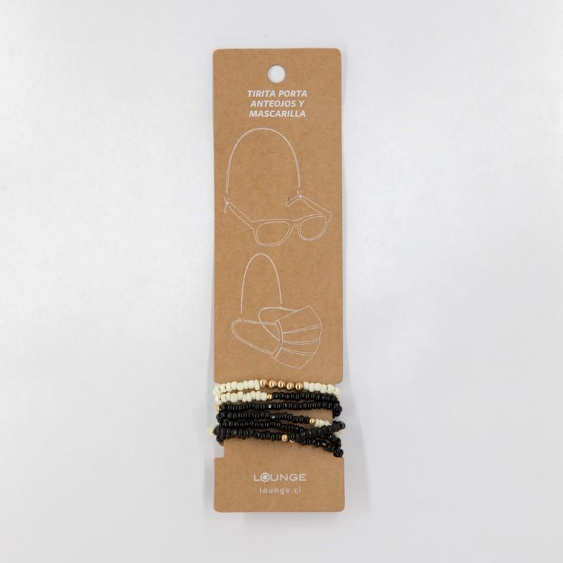 Tiritas porta anteojos y mascarilla mostacillas blanco y negro 65 cm de largo