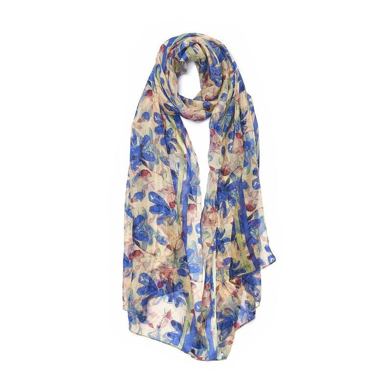 Pañuelo seda estola flores azules 50 cm de ancho x 180 cm de largo