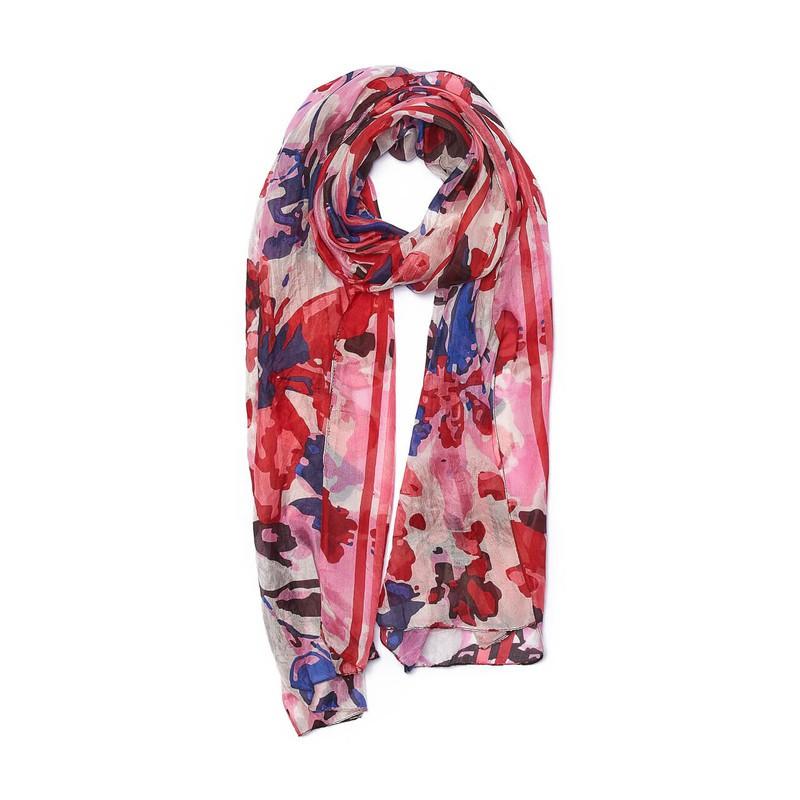 Pañuelo seda estola flores rojas 50 cm de ancho x 180 cm de largo