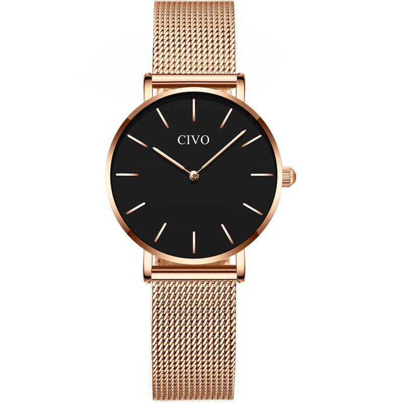 Reloj análogo mujer vox negro dorado 33 mm