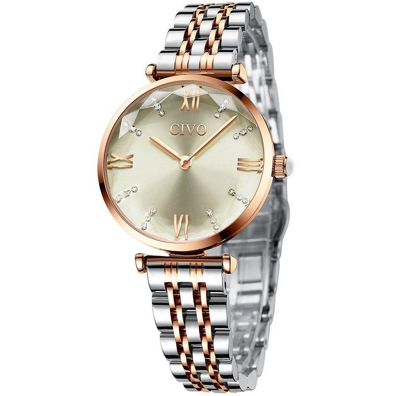 Reloj fashion mujer plateado y dorado 33 mm