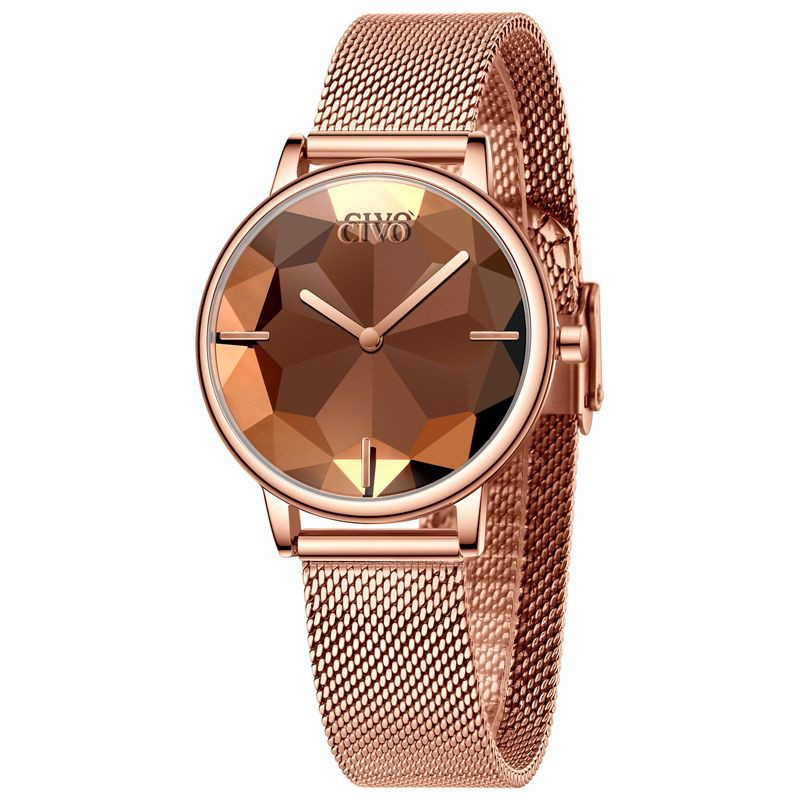 Reloj fashion mujer esfera biselada 34 mm
