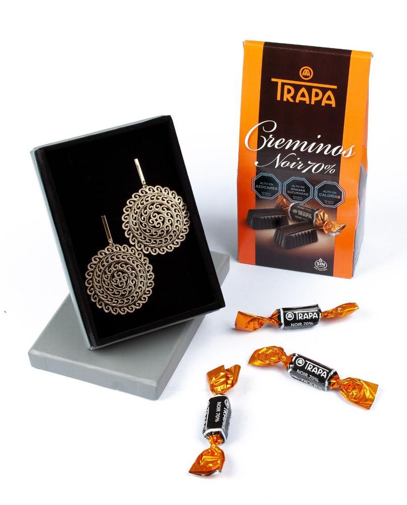 Aros baño oro 18k + chocolates Pack 2 un