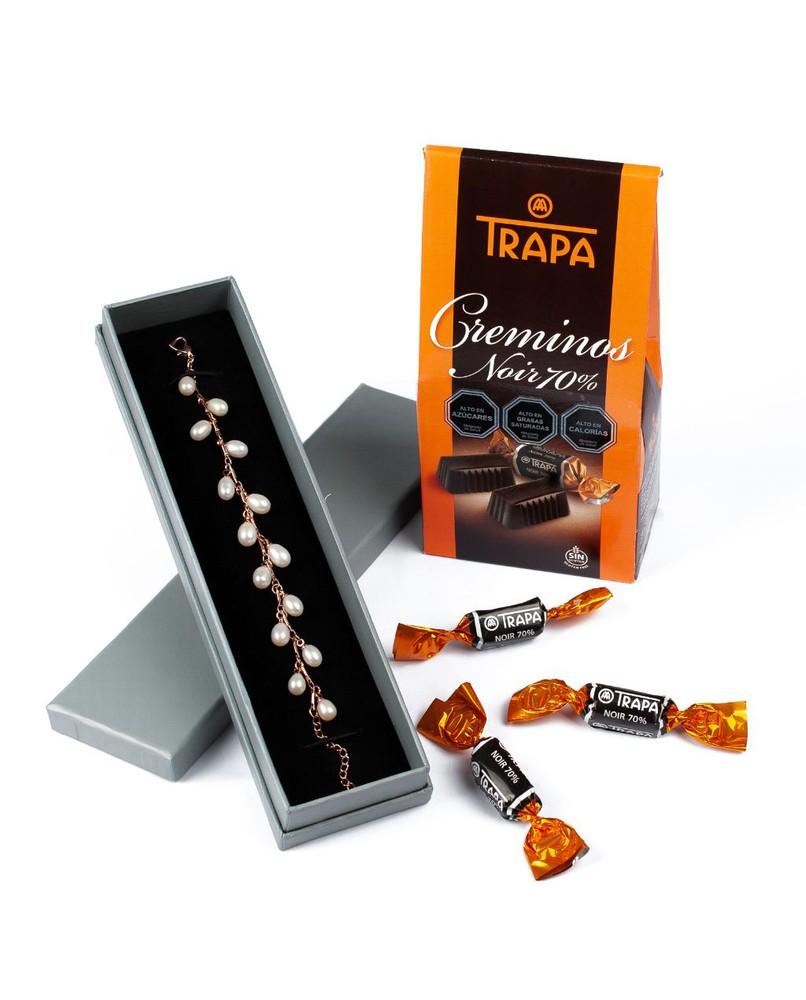 Pulsera plata y perlas de río + chocolates Pack 2 un