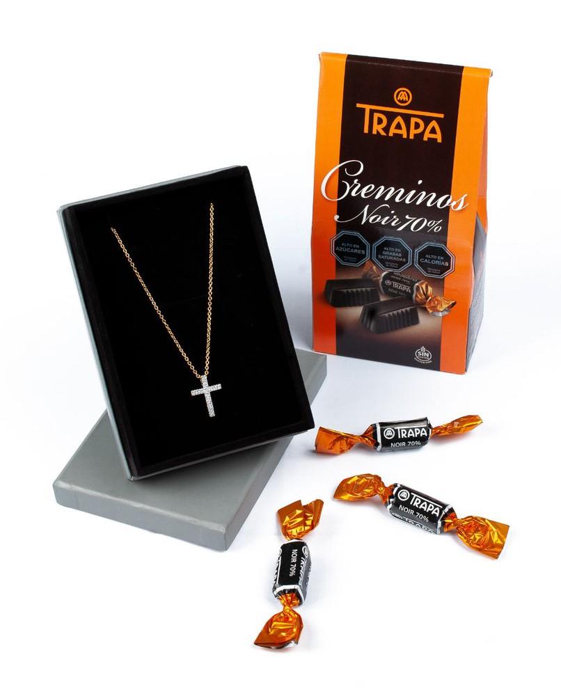 Colgante cruz plata + chocolates Pack 2 un