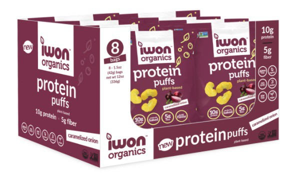 Protein puffs caramelized onion