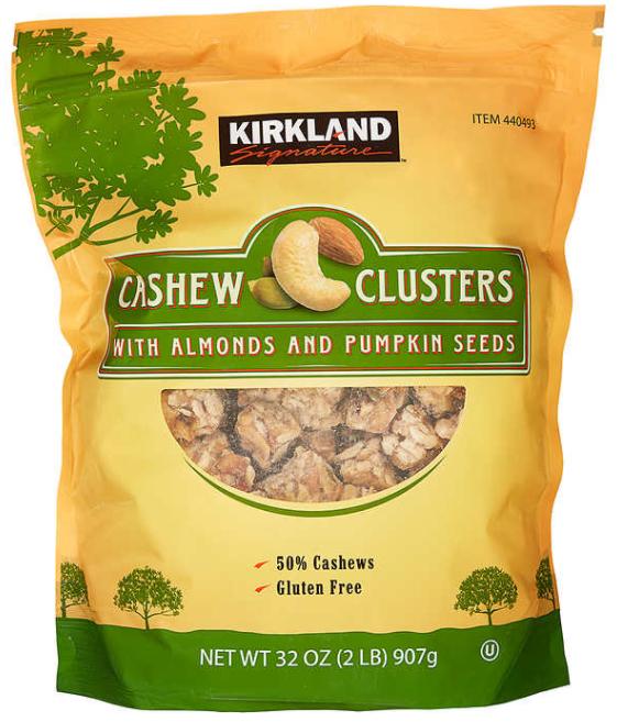 Cuadros de castañas de cajú almendras y semillas de calabaza