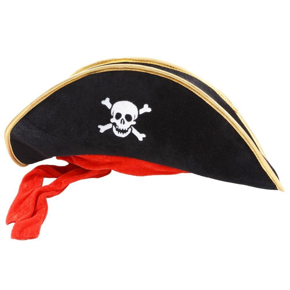 Sombrero pirata terciopelo con cinta roja