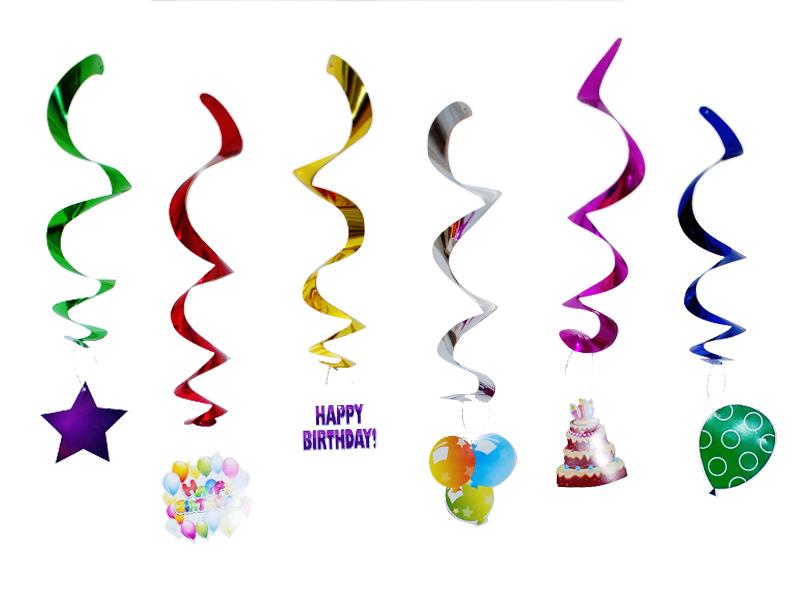 Decoracion colgante espiral cumpleaños