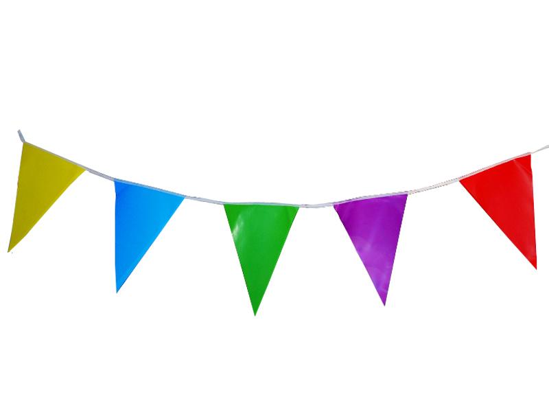 Banderines cumpleaños liso multicolor x 10