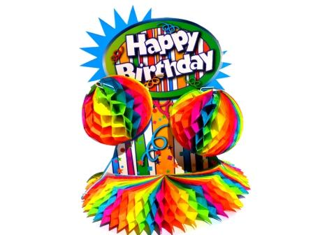 Centro de mesa cumpleaños multicolor