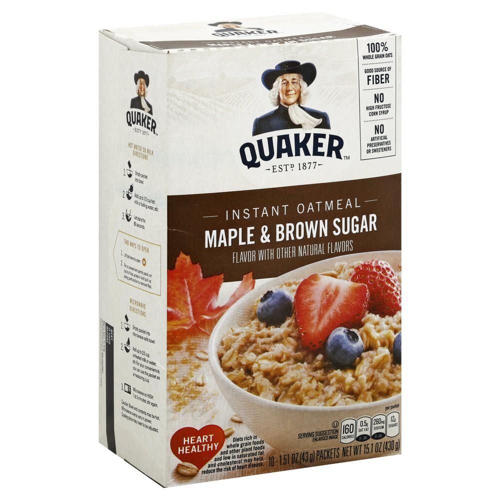 Maple & Brown Sugar Instant Oatmeal 10 x 1.5 oz