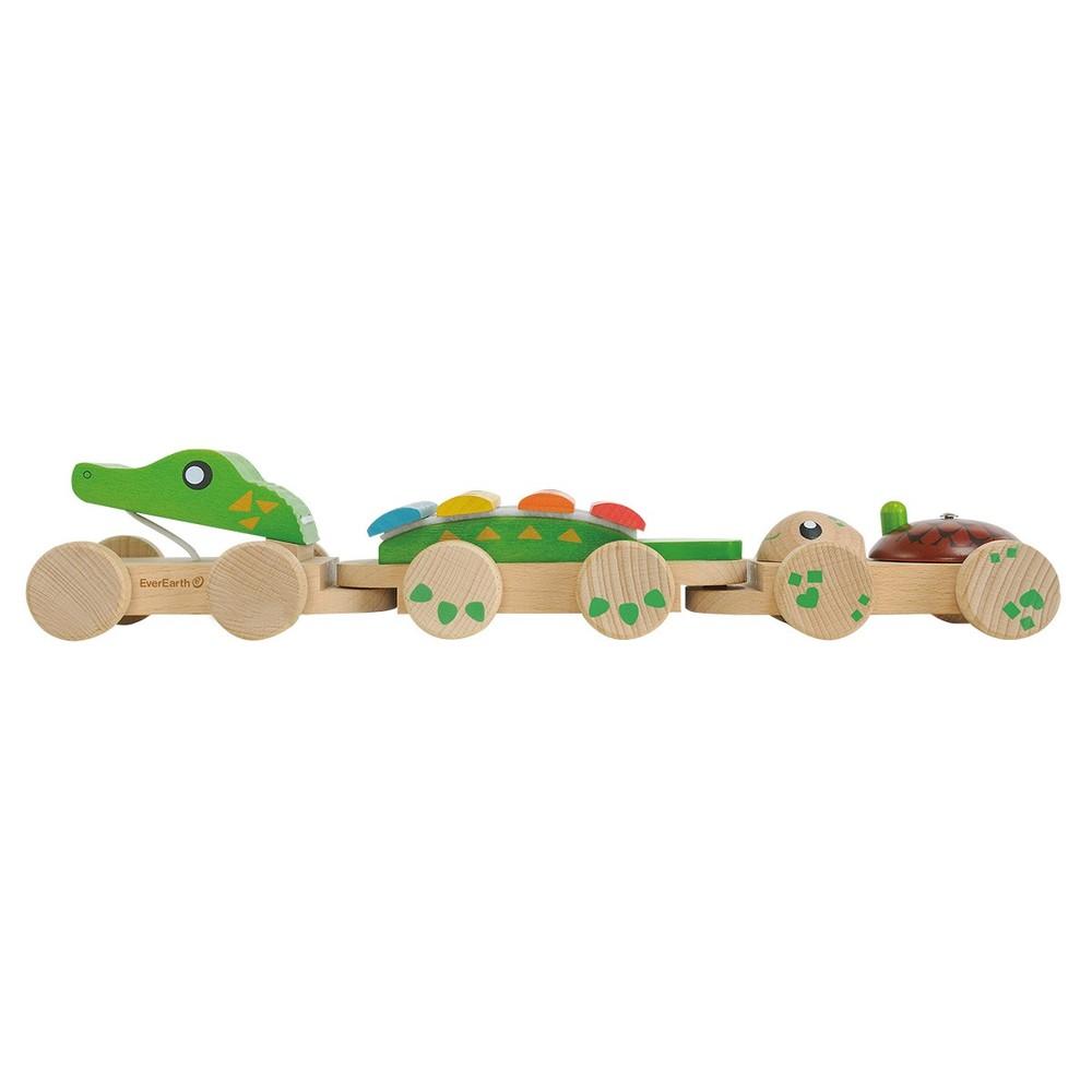 Cocodrilo musical de arrastre juguete de madera Caja